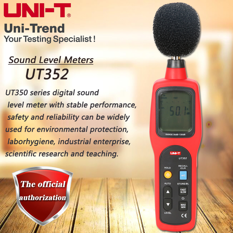 UNI-T UT352 Sound Level Meter Digital Noise Meter 130dB Noise Table High Limit / Low Limit Alarm Data Storage LCD Backlight Anal
