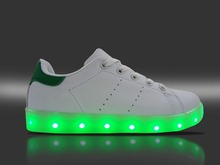 2016 hot sale 7 changing colors PU fabric light up shoes kids boys led sneakers girls shoe lace-up casual flats white color