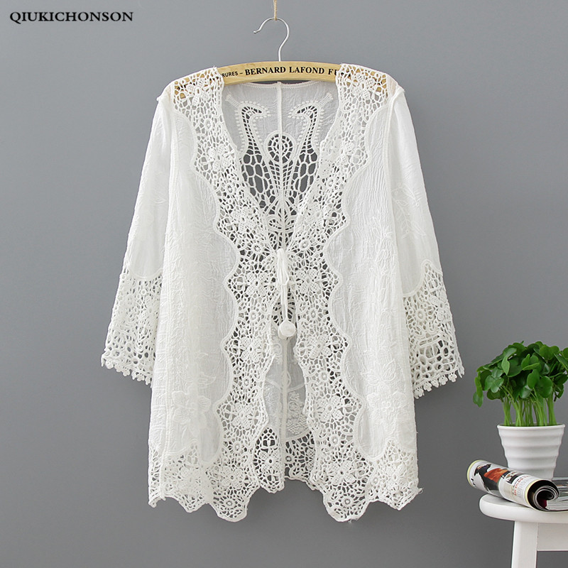 Qiukichonson White Lace Cardigan Women Bohemian Casual Ladies Sweet Hollow Out Peacock Flower Embroidery Lace Up Cardigan Tops