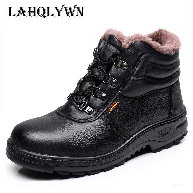 Snow-Boots Men Shoes Toe-Anti-Crush Work Steel Safety Winte Warm Ankle with Plush-Fur