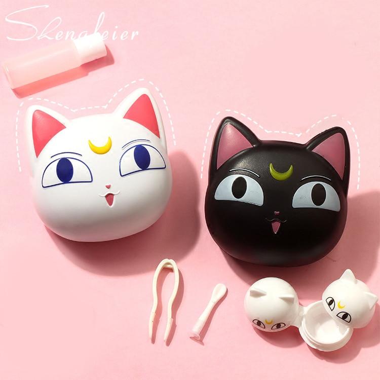 Sailor Moon Luna Artemis Cat Lens Case Companion Box Cartoon Contact Lenses Box Soaking Box Glasses Accessories Cosplay Prop Costume Props Costumes & Accessories