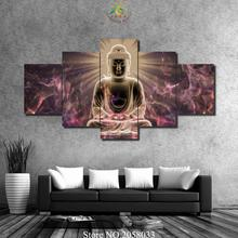 3-4-5 Pieces Buddha Image Light Wall Art Painting Pictures For Living Room printed canvas wall decoration for art pictures