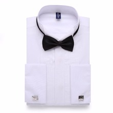 Alimens & Gentle Mens Tuxedo Shirt Party Wedding Long Sleeve Dress Shirt Men With Two Ties Color Black White Pink Male Camisa