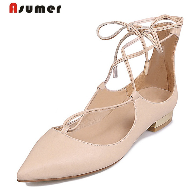 ФОТО Asumer Three colors genuine leather shoes woman zipper shallow single party shoes med heels 3.5cm fashion women pumps