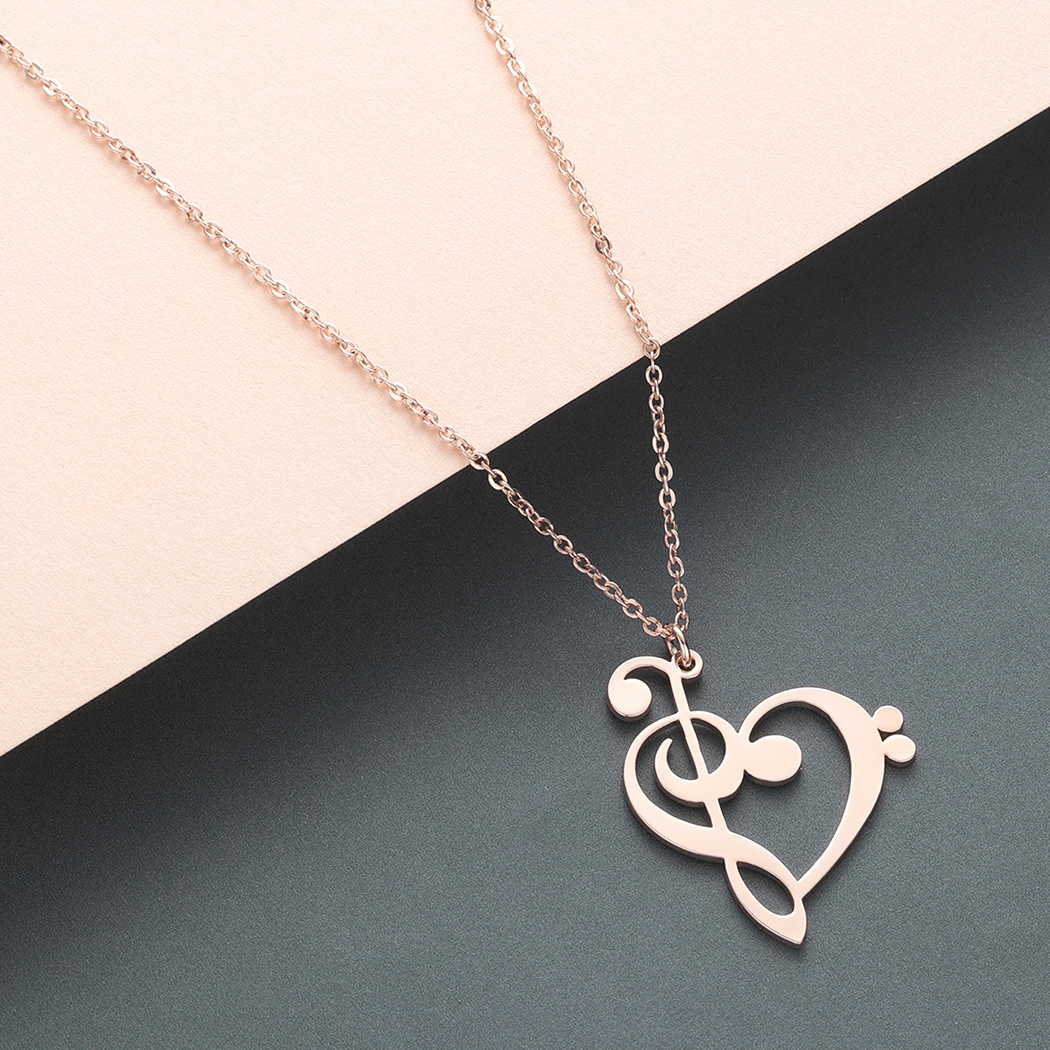 Todorova Music Note Heart of Treble and Bass Clef Necklace Women Infinity Love Charm Pendant Necklace Stainless Steel Jewelry 2