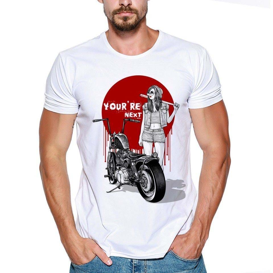 2018 Men T Shirt Fashion Funny Clothing Free shipping Tshirts Bad Girl Motorcycle Ready To Kick Yor Funny Joke Men Tee shirt