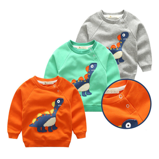 Children Sweatshirts Spring and Autumn Unisex T shirt round Collar Cartoon Full Sleeved dinosaur Casual printed terry hoodies