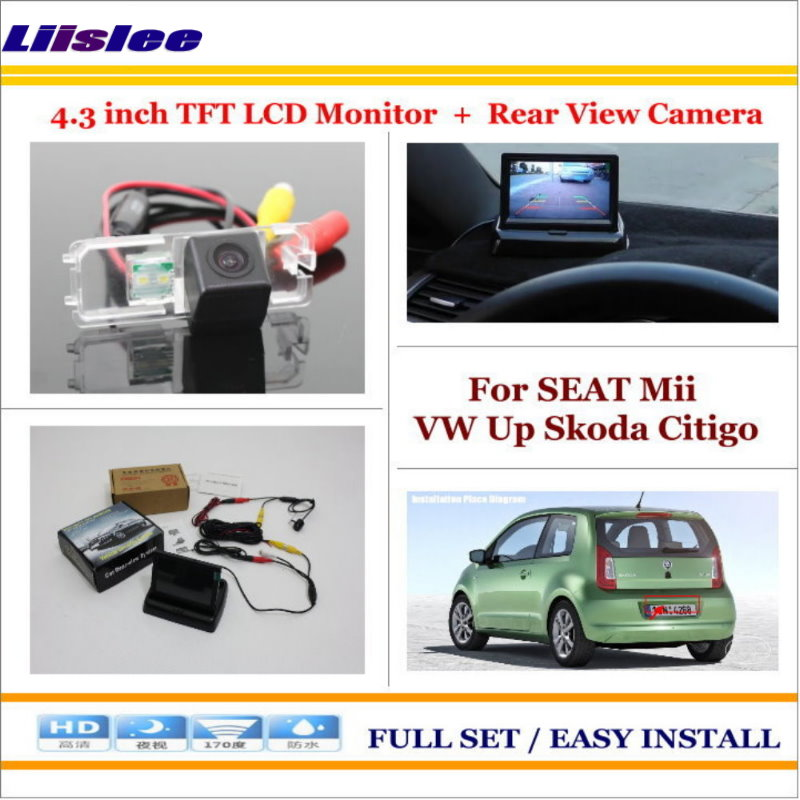 Liislee For SEAT Mii VW Up Skoda Citigo - 4.3 TFT LCD Monitor + Car Rearview Back Up Camera = 2 in 1 Car Parking System