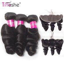 Tinashe saç gevşek dalga demetleri ile Frontal kapatma brezilyalı Remy kıvırcık insan saçı örgü 3 demetleri ile Frontal
