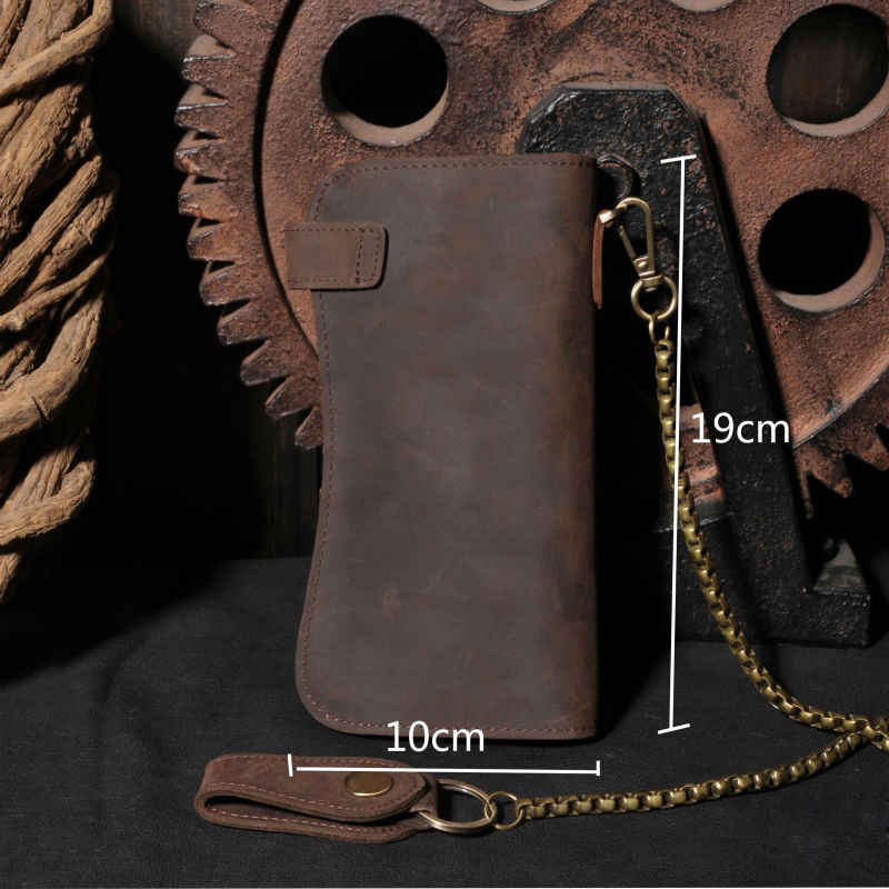 Vintage Crazy horse Genuine Leather Wallet Men Purse Leather Men Wallet Long style Clutch Bag Male Coin bag Money Clips Chain