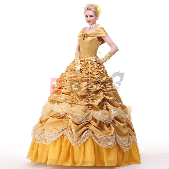 Beauty and the Beast costume princess Belle cosplay costumes with cape and  gloves Custom Made-in Movie   TV costumes from Novelty   Special Use on ... 8a24dbabd899