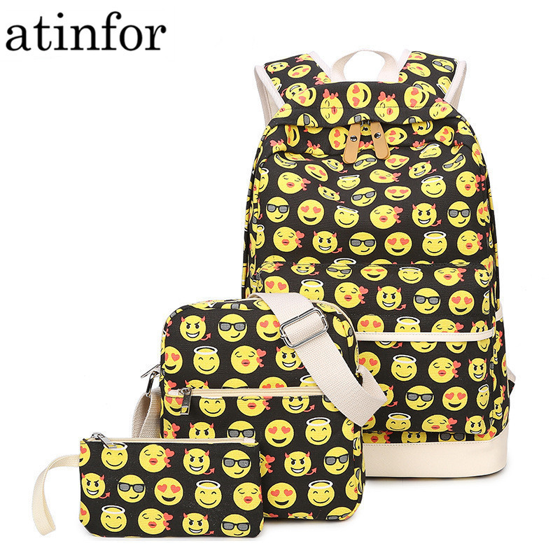 Set Casual Canvas Backpack Women 3D Smiley Emoji Face Printing Backpacks School Backbags for Teenage Girls Bagpack