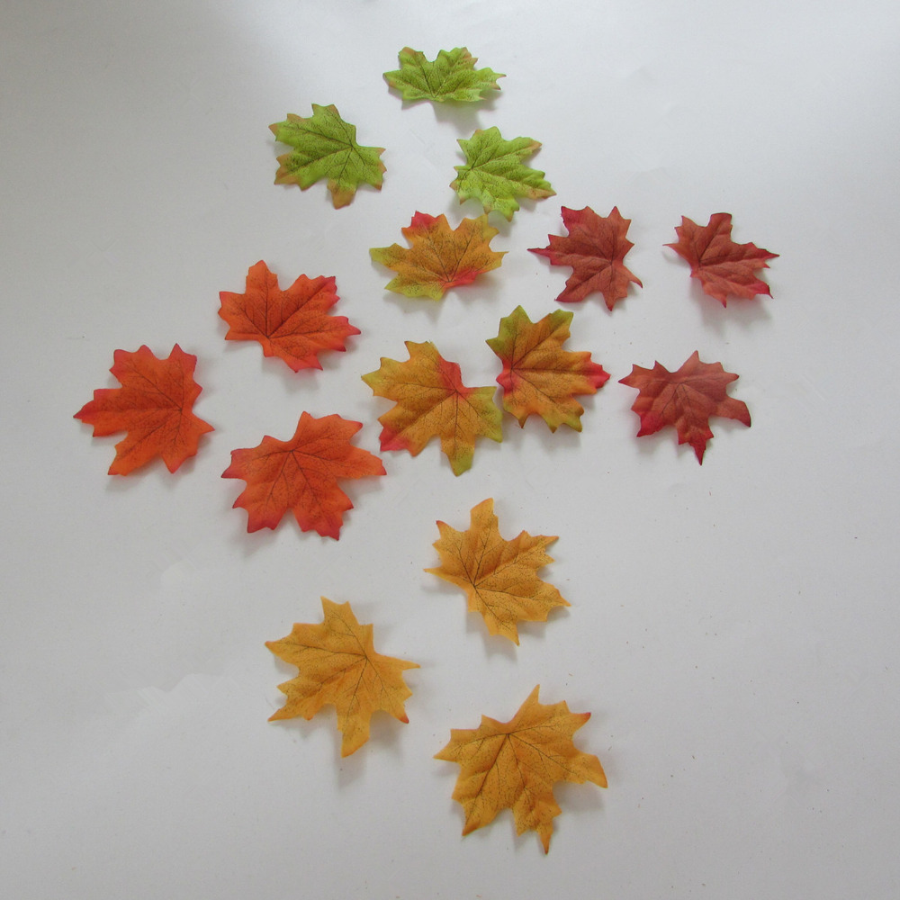 simulation autumn maple leaf 1 package sell DIY wedding decorate photography collocation 7cm-8cm 3-4 inch