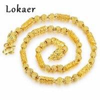 Lokaer Chinesische Ethnische Perlen Kette Link Halsketten Vintage Gold Farbe Kette Drache Kopf Lange Kette Halskette Für Männer Collier LKX657
