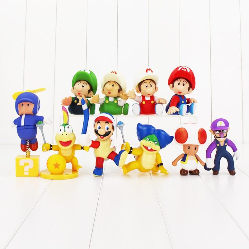 10Styles Super Mario Yoshi Luigi  Mario Toys Flying Mario,Toad Mushroom, Lemmy , Waluigi, Boomerang Turtle Mario Figure Toys