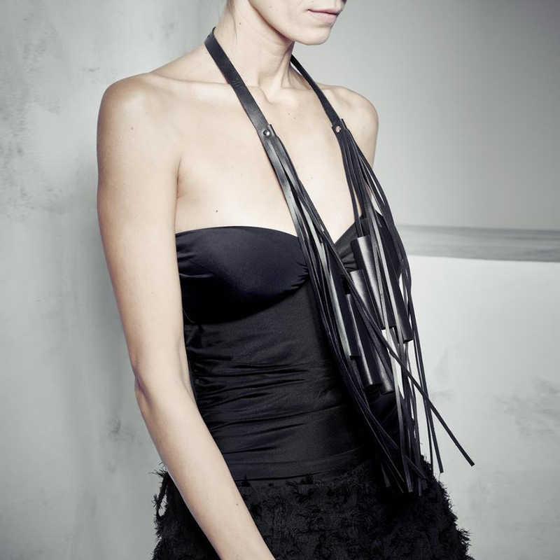 YD & YDBZ ใหม่ Designer Luxury Real หนังจี้สร้อยคอผู้หญิงสร้อยคอ Gothic พู่โซ่หนังยาว Choker เครื่องประดับ