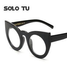 Armações de óculos de olho para as mulheres da moda olho de gato preto  limpar big rodada óculos de armação mulheres marca gafas . 7ed1389c07