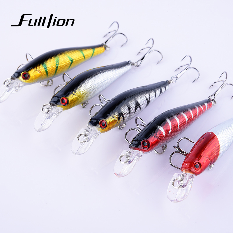 Fulljion 5pcs Fishing Lures Hard Minnow Wobblers Crankbait Fishing Tackle Forgylt Plast Laser Pesca Isca Kunstig Baits