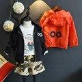Primavera Roupas Outono das crianças Outerwear & Casacos Diabo Meninos Casaco Com Capuz Zipper Jaqueta Roupa Dos Miúdos Grils Roupas 2-8A