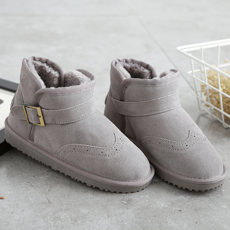 ФОТО New Arrival Fashion Genuine Leather Ankle Cow Fur Snow Boot Buckle Strap Round Toe Rubber Female shoe Solid Winter Shoes Women