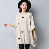 Women Knitted Shawl Sweater Oversized Cape Poncho 2017 New Autumn Loose Sweaters Pullover Cloak Tops
