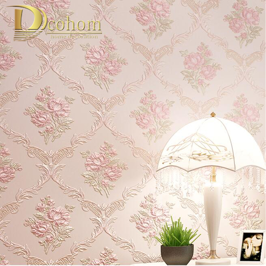 Bedroom Living room Home Decor Beige Pink Flower Romantic Pastoral Wallpaper For Walls 3 D Stereoscopic Floral Wall paper shinehome sunflower bloom retro wallpaper for 3d rooms walls wallpapers for 3 d living room home wall paper murals mural roll