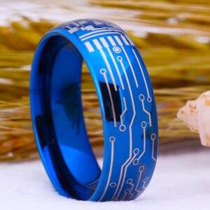 Image 3 - Romantik Moda Alyans Için Sevgilisi Mavi Renk Tungsten Yüzük Nişan Parti Takı Düğün Bantları devre Halka