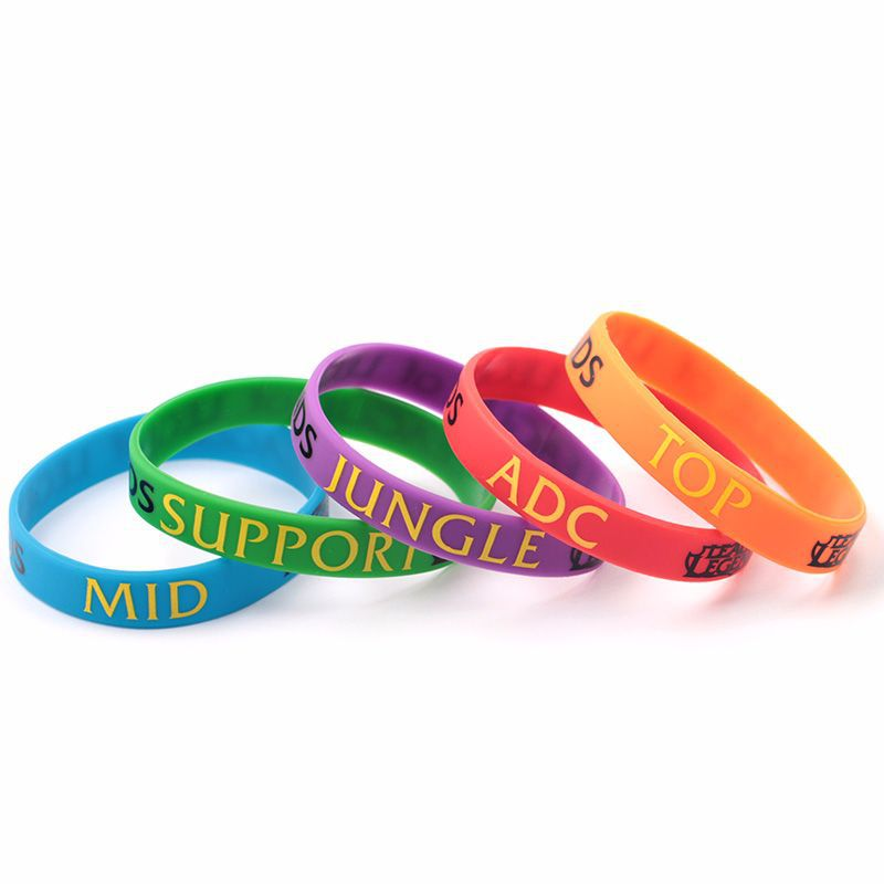 LOL League of Legend Silicone Bracelets Heroes SUPPORT TOP JUNGLE ADC MID Letter Movement Wristband Band Charms Bangle Jewelry