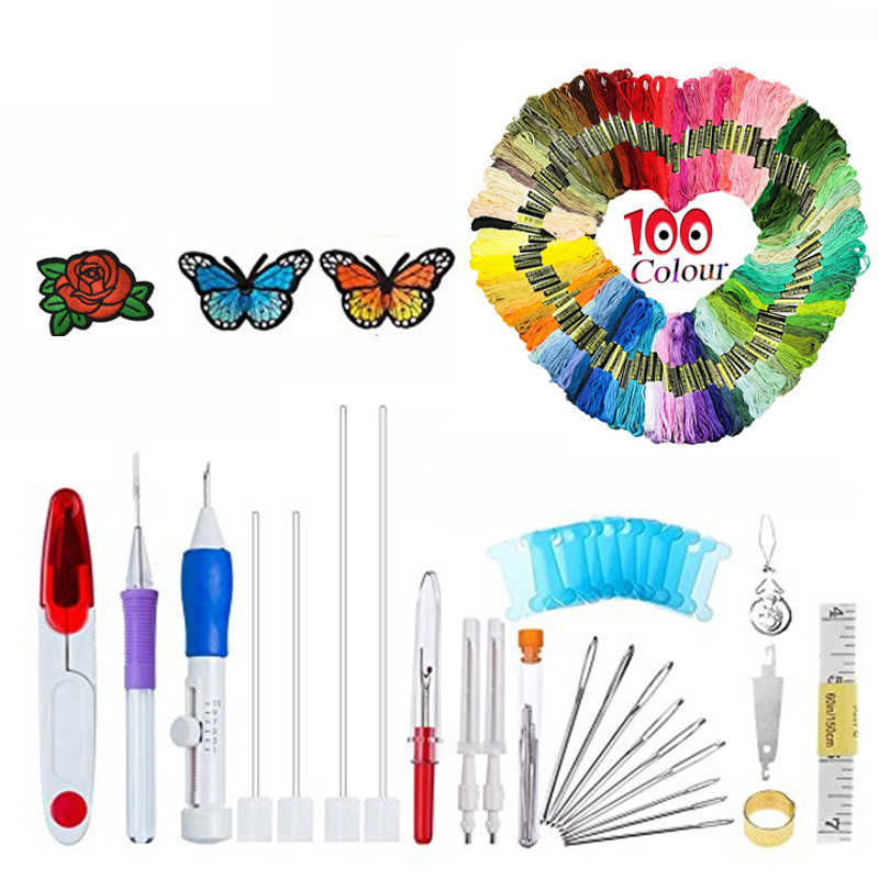 100Pcs Threads With Magic Embroidery Pen Punch Needle Set Interchangeable Punch Needle DIY Sewing Accessories Tool For Women