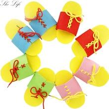 DIY Нетканые Тапочки на шнуровке ручной обучения материалы для родителей и детей обучение в детском саду обучение маленьких детей подарок