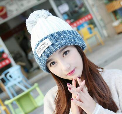 2017 new Women s winter watercress hat ball knitted hat rabbit fur wool warm hat women