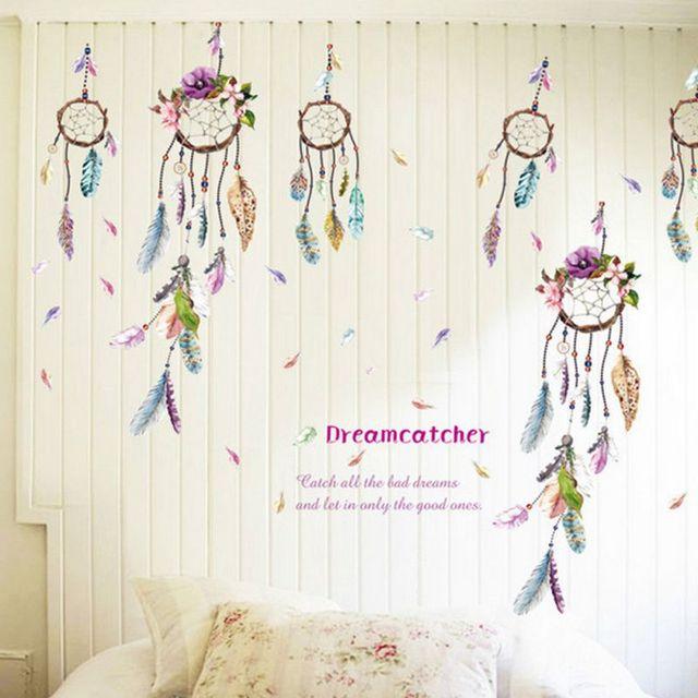 Moda Pena Sonho Adesivo De Parede Arte Da Do Decalque Decor Dream Catcher Boemio