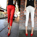 Fahion Red Black White Women Spring Summer Slim Pants