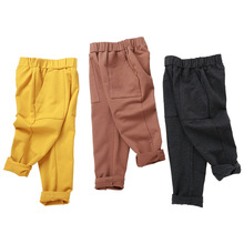 2019 Children cotton wild casual pants spring and autumn boys and girls solid color sports pants gray trousers Kids pencil pants недорого