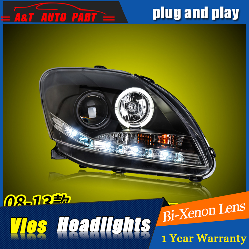 Car Styling For TOYOTA VIOS headlight assembly 2008-13 For VIOS LED Angel eye led DRL front light H7 with hid kit 2 pcs.