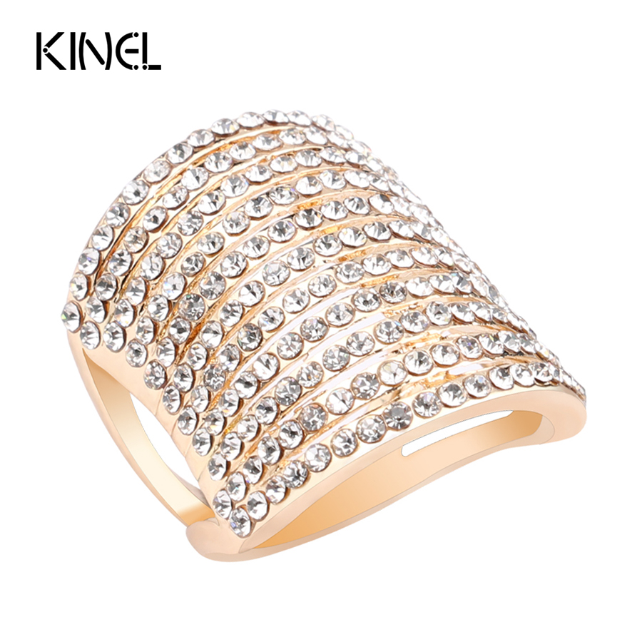 Senior Jewelry Covered With Austrian Crystal Gold Ring Hyperbole Rings For