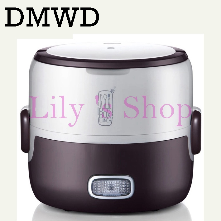 DMWD Mini Electric insulation boxes stew soup heating lunch box steamed meals rice cooker steamer two layers Food Warmer 1.3L EU 1l portable lunch box rice cooker steamer 220v stainless steel inner pot eu plug for home use