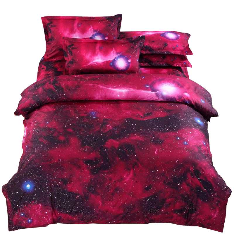 New 3d galaxy bedding sets twin queen size universe outer for Outer space bedding