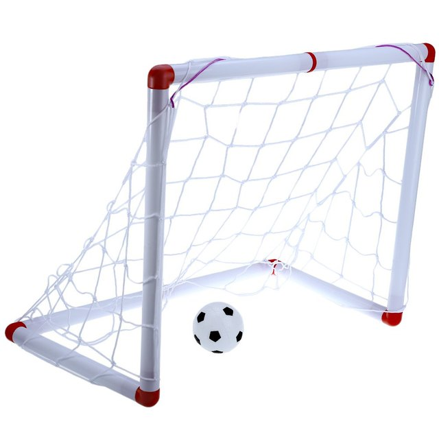 4312d85f1 White Mini Self-assembly Football Soccer Goal Set Indoor Outdooor Kids Toy Soccer  Net Small Size Lightweight Folding