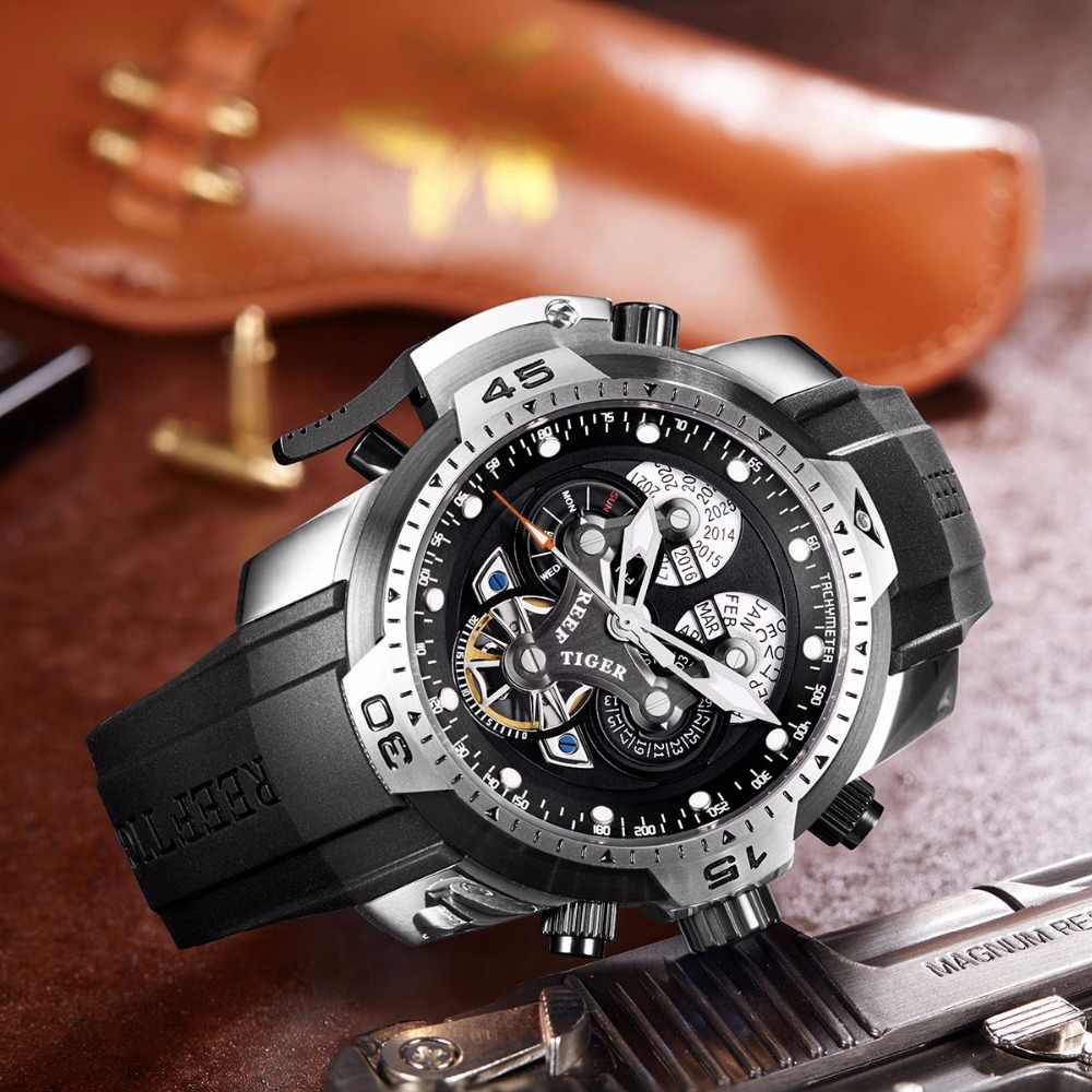 2019 New Reef Tiger/RT Brand Military Watches Reloj Hombre Men Leather Automatic Waterproof Watches Relogio Masculino+Box RGA35