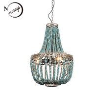 Modern loft vintage E27 led hanging lamps blue wooden beads pendant lamps industrial decor lights for living room hotel kitchen