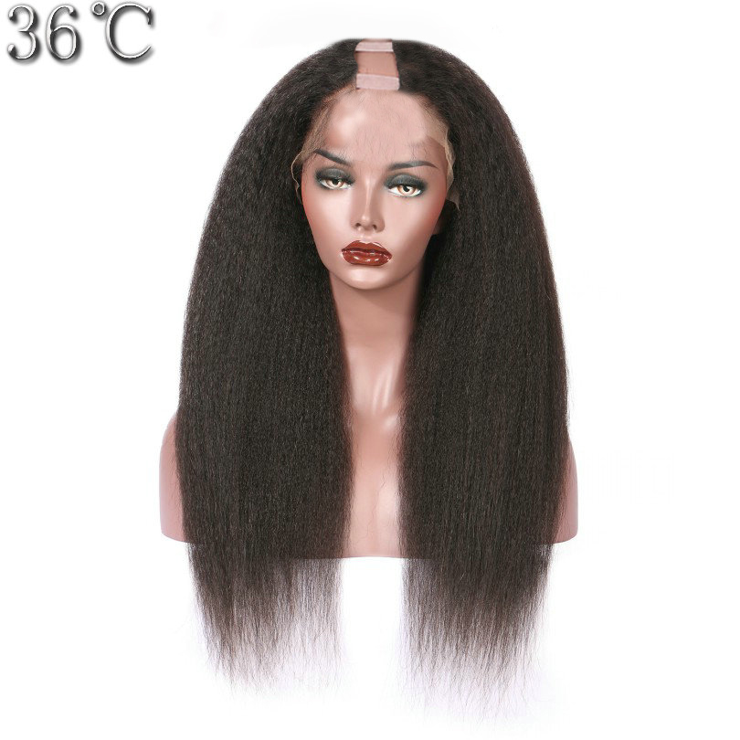 PAFF Kinky Straight U Part Wig Human Hair Wigs Brazilian Remy Hair 150 Density Italian Yaki Medium Cap 1*3 Middle Opening