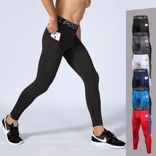 цены на Men Sweatpants with Pocket Elastic Compression Sport Pant Leggings Running Tights Jogging Fitness Gym Track Yoga Pant sportswear в интернет-магазинах