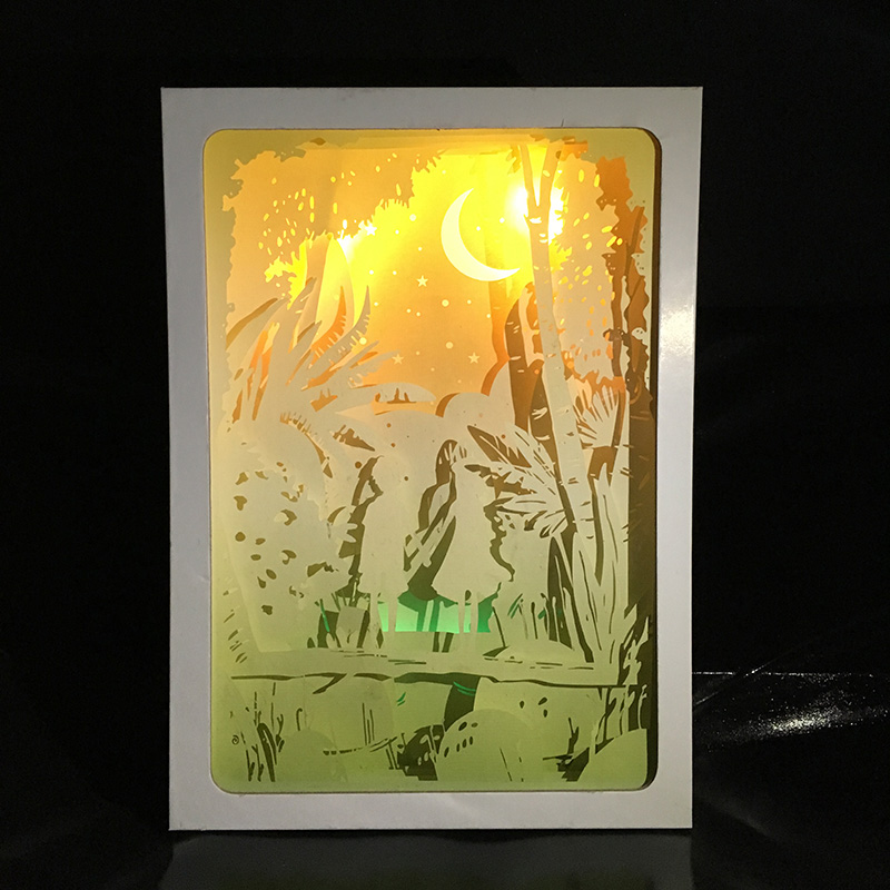 Valentines Day Decor Couples Gift Paper Lantern 3D Papercut Light Boxes, Baby Night Light Lamp of Creative Light Paintings