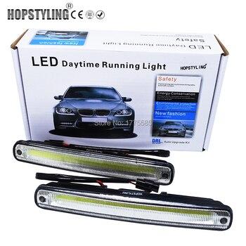 цена на Hopstyling Car styling 2x 18.3cm white COB LED DRL Lamp Vehicle Car Daytime Running Light With Installation Bracket Warning Lamp