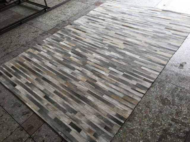 Top quality avorio patchwork grigio pelle bovina tappeto grigio