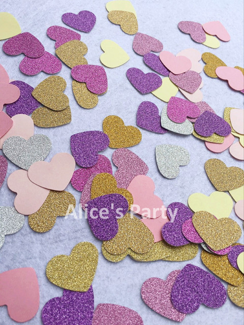 New 100pcs Heart Confetti Pink Gold Purple Macarons Themed Baby