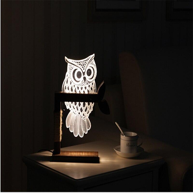 Créatif visuel LED nuit hibou 3D Vision stéréo chambre réglable LED veilleuses pour enfant cadeau lampe de Table avec chargeur