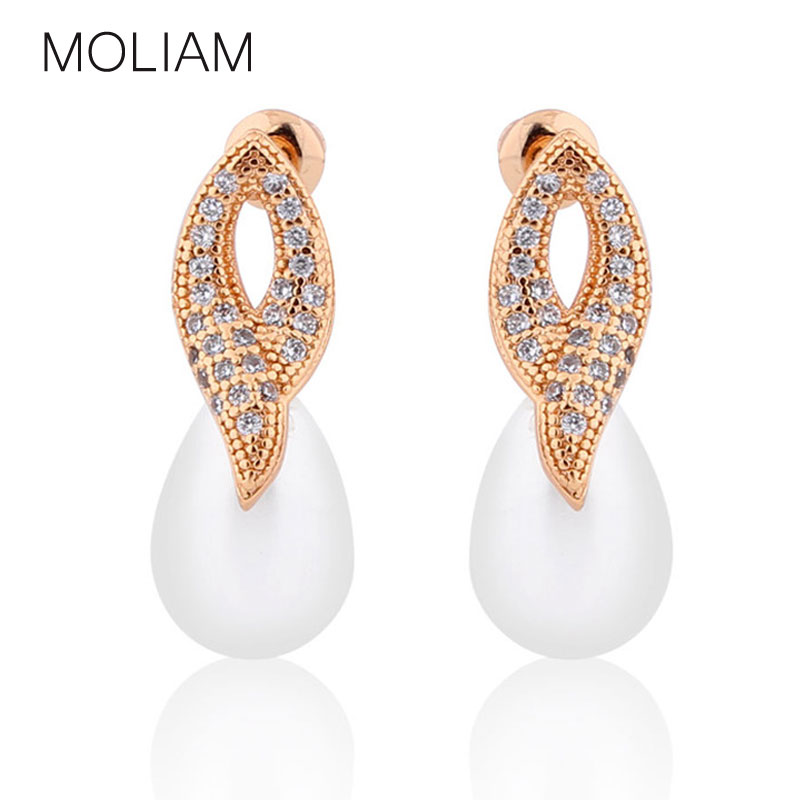MOLIAM Bohemian Earrings for Women Big Imitated Pearl Crystal Cubic Zirconia Elegant Dangle Earings High Quality MLE521
