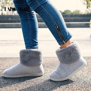 Image 1 - LALA IKAI Frauen Winter Schnee Stiefel Freien pelz Halten Warme Schuhe Weibliche Flock Slip auf Woolen Stiefel Feste Beiläufige stiefel XWA5993 4